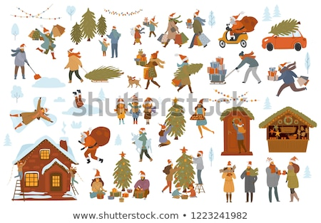 Emberek előkészítés karácsony ünnep vektor család Stock fotó © robuart