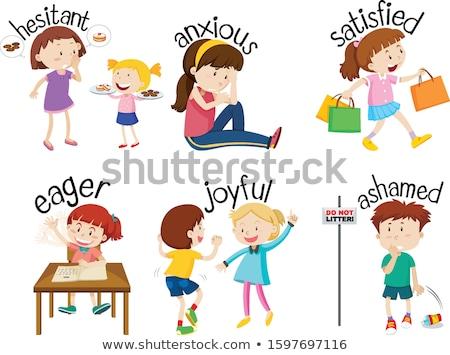 Zestaw słowa dzieci uczucia ilustracja Zdjęcia stock © bluering