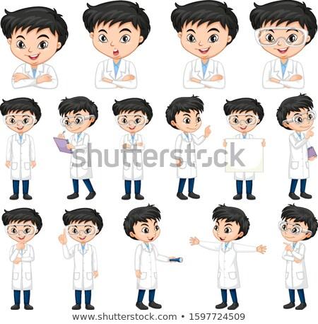 Fiú tudomány talár különböző boldog oktatás Stock fotó © bluering