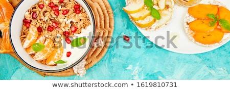 Banner tazón granola arroz pan fruta tropical Foto stock © Illia