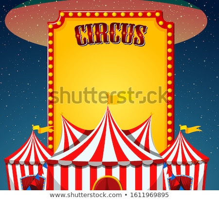 Circus scene with sign template in the sky Stock photo © bluering
