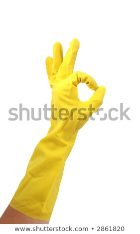 Latex Glove For Cleaning Making an OK hand sign Stock photo © tobkatrina