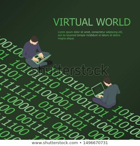 Férfi számítógéphasználat kódolás programozás vektor férfi Stock fotó © robuart