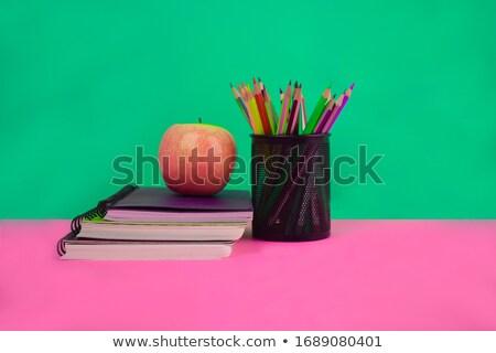 Tres lápices escuela objetos verde madera Foto stock © inaquim