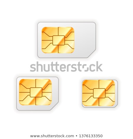 Set of blank standard, micro and nano sim card for phone with golden glossy chip on white Stock photo © evgeny89