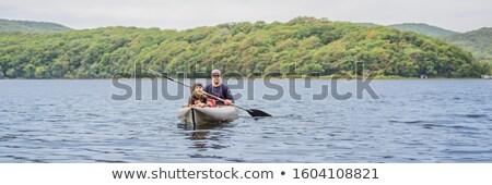 Father and son kayaking on the sea BANNER, LONG FORMAT Stock photo © galitskaya