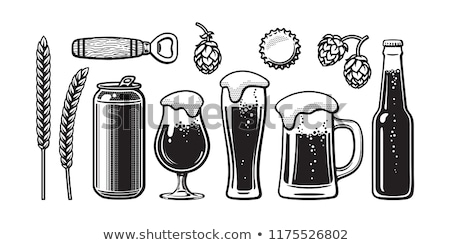 Bottle of beer. Glass with beer. Vector illustration of a sketch style Stock photo © Arkadivna