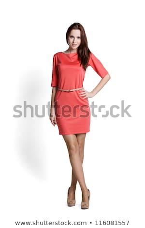 portre · ayakta · genç · kadın · kırmızı · elbise · kadın - stok fotoğraf © phbcz