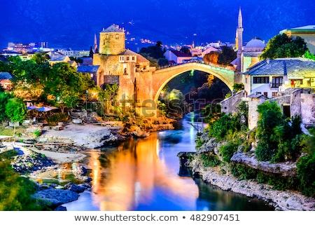 старые · моста · Босния · и · Герцеговина · облака · строительство · фон - Сток-фото © travelphotography