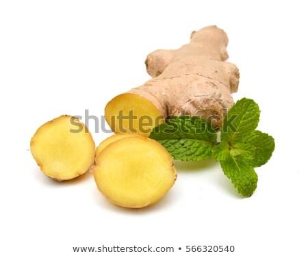 gengibre · hortelã-pimenta · comida · medicina · branco · ramo - foto stock © smithore