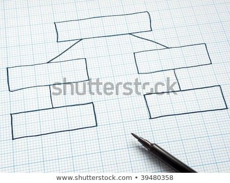 Blank Organization Chart Drawn On Square Graph Paper Stock Photo