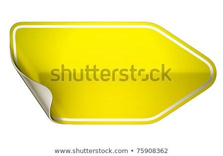 Yellow Hamous Sticker Or Label On White Stok fotoğraf © Arsgera