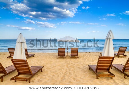 beach chaise longue with umbrella on sea coast stock photo © loopall
