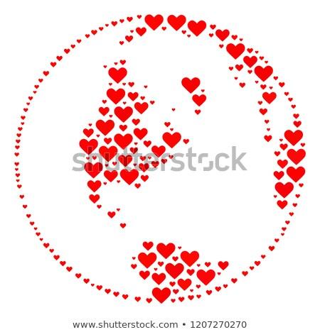 Stockfoto: Aarde · wereldbol · hart · patroon · vector · halftoon