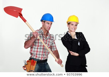 Construction worker preparing to hit an engineer over the head Stock photo © photography33