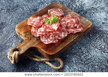Rústico salame alho carne pimenta Foto stock © ChrisJung