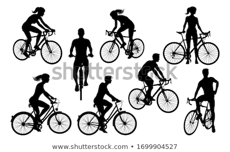 silhouet · mensen · fietsen · vrouwelijke · mannelijke · fietsen - stockfoto © kaludov