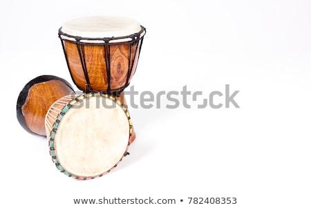 africano · tambor · isolado · branco · música · madeira - foto stock © taigi