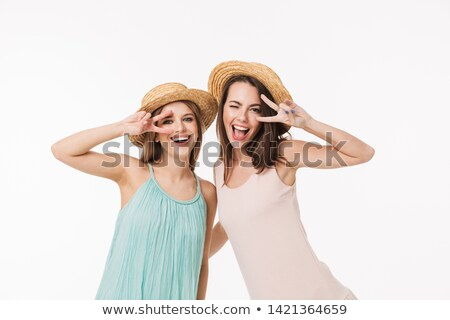 blond girl with white summer hat Stock photo © carlodapino