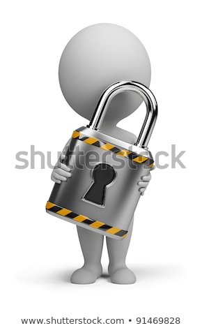 3d white people with a padlock stock photo © 3dmask