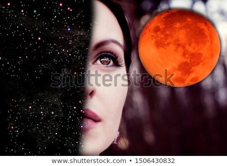 Retrato misterioso mulher preto e branco moda beleza Foto stock © acidgrey