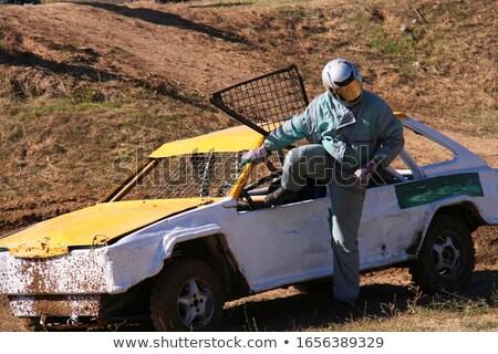 Gara sopravvivenza auto rotta brano auto erba Foto d'archivio © acidgrey