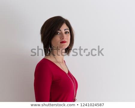 肖像 淡い 赤い口紅 白 ファッション 背景 ストックフォト © wavebreak_media