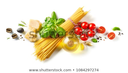 raw spaghetti with tomatoes and cheese stock photo © m-studio