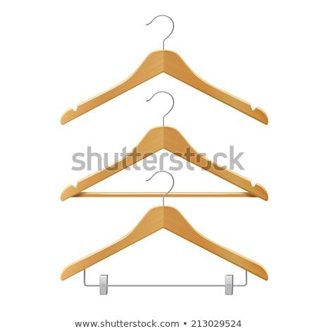 Stock photo: wooden clothes hanger set