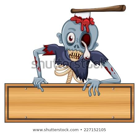 Zombie with Edge of Blank Sign Stock photo © AlienCat