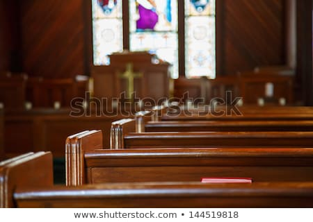 Row of wooden pews in church Stock photo © speedfighter