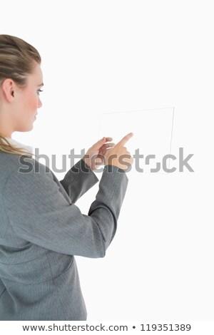 女性実業家 · 触れる · ガラス · スライド · スーツ · 女性 - ストックフォト © wavebreak_media