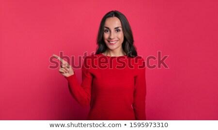 genç · kadın · gülen · bakıyor · doğru · yukarı - stok fotoğraf © pablocalvog