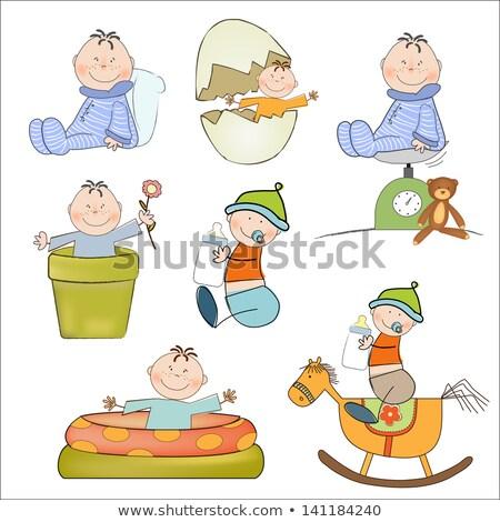 bebek · erkek · ölçek · mutlu · arka · plan · çocuk - stok fotoğraf © balasoiu