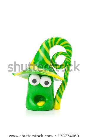 Handmade Modeling Clay Figure With Green And Yellow Stripes Photo stock © Zerbor