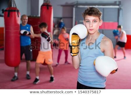 Foto stock: Menino · menina · boxe · criança · arte · retrato