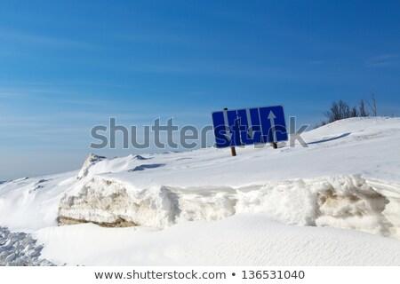 Traffico segnale separazione neve cielo blu cielo Foto d'archivio © RuslanOmega