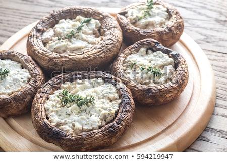 フェタチーズ キノコ 台所用テーブル 卵 野菜 オリーブ ストックフォト © stevanovicigor