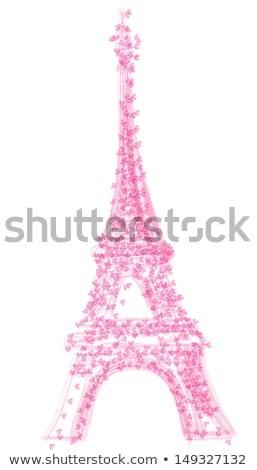 Torre · Eiffel · artístico · flores · textura · edifício · pintar - foto stock © balasoiu