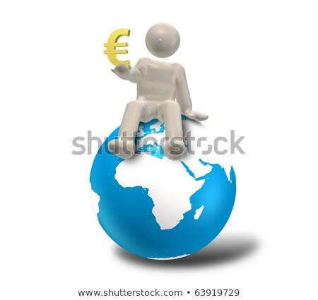 Atlas euro simbolo carattere mondo spalle Foto d'archivio © TaiChesco