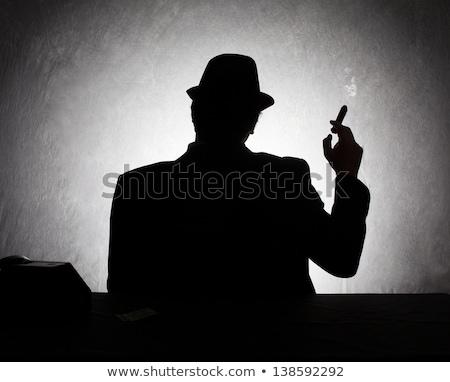Poważny człowiek biznesu palenia cygara patrząc kamery Zdjęcia stock © feedough