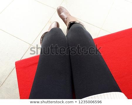 Bacaklar siyah çorap kırmızı ayakkabı Stok fotoğraf © albertdw
