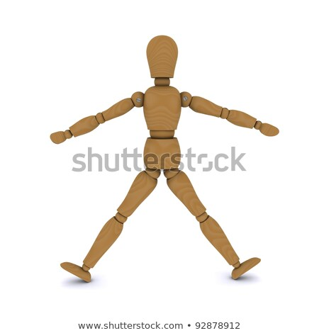 Wooden doll stands, arms and legs to the side. 3D rendering Stock photo © cherezoff