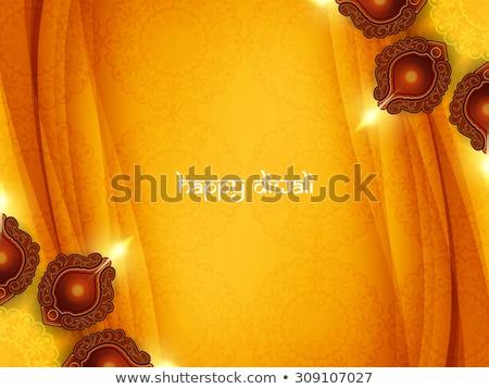 diwali festival with beautiful diya colorful wave vector illustr stock photo © bharat