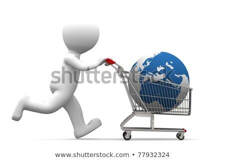 3d person carrying shopping cart with globe Stock photo © Kirill_M