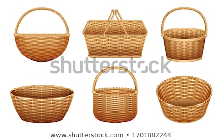 Round brown wicker basket with handle Stock photo © michaklootwijk