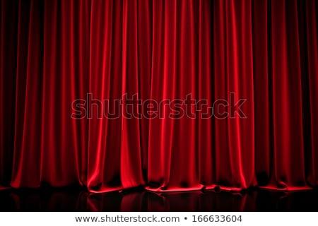 Kırmızı kadife perde arka plan kapalı ışık Stok fotoğraf © arquiplay77