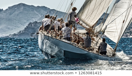яхта гонка морской пейзаж красивой облака свет Сток-фото © gllphotography