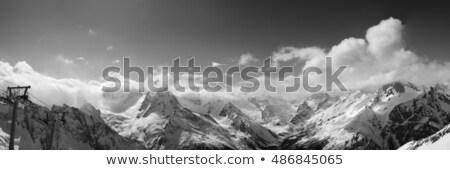 Stock photo: Panoramic view on ski resort Dombay in nice sun day