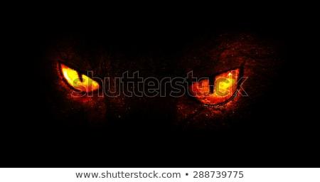 Stockfoto: Demon · ogen · gekleurd · illustratie · vector
